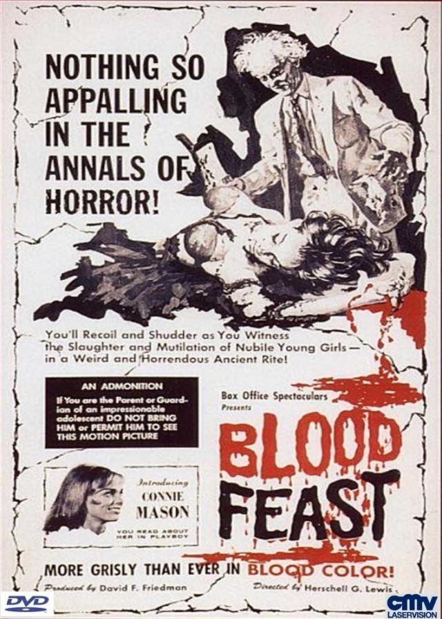 """Das deutsche DVD Cover des Originals """"Blood Feast"""" von CMV Laservision"""