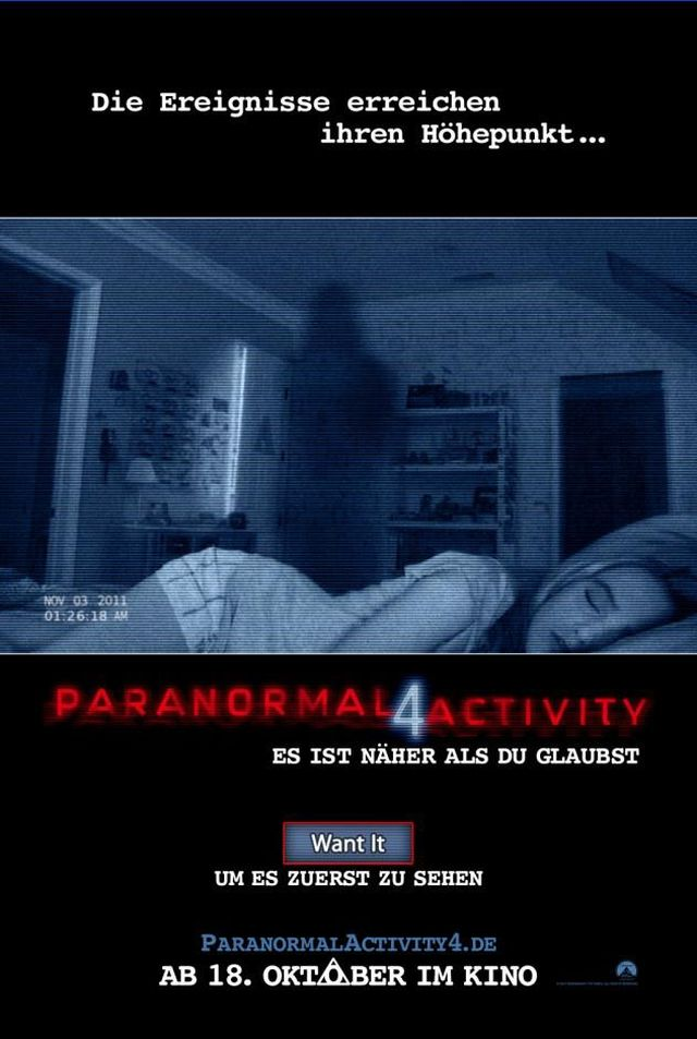 Paranormal Activity 4 Deutsches Kinoplakat