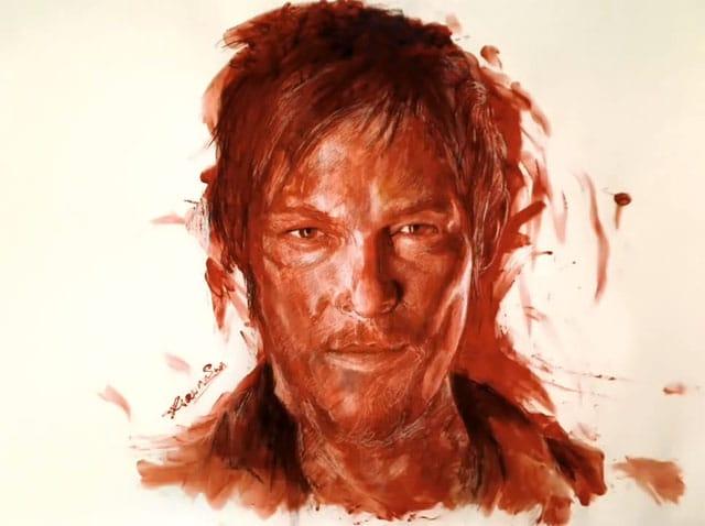 Daryl aus Blut gemalt - The Walking Dead Kunst