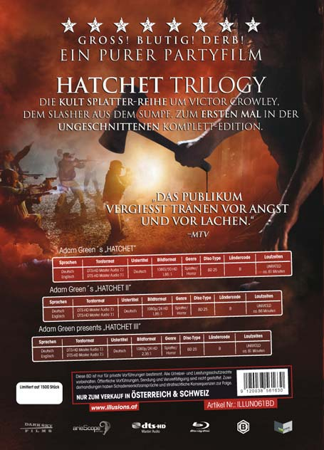 Hatchet Trilogy - Blu-ray Rückseite Cover