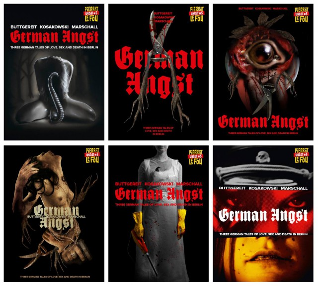 """Übersicht über die sechs möglichen Cover für """"German Angst"""""""